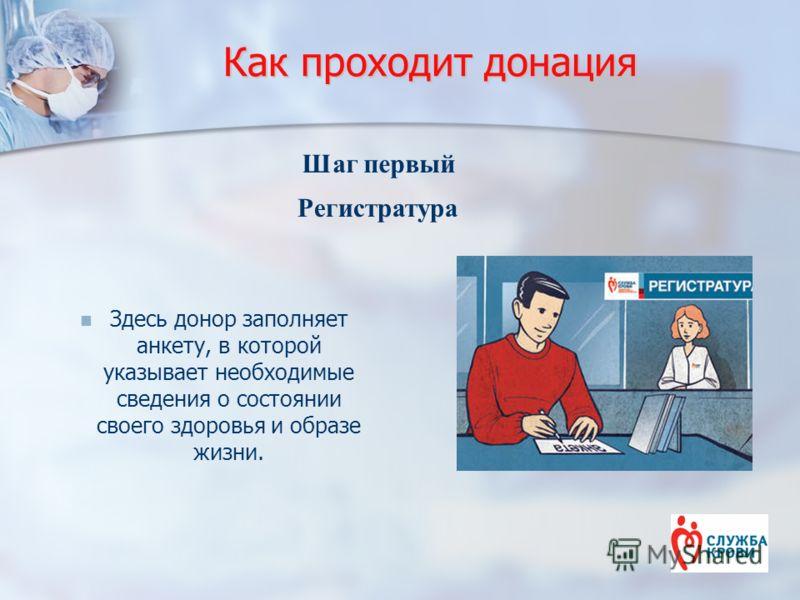 Как проходит донация Здесь донор заполняет анкету, в которой указывает необходимые сведения о состоянии своего здоровья и образе жизни. Шаг первый Регистратура