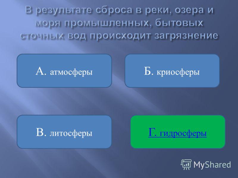 Б. криосферы В. литосферы А. атмосферы Г. гидросферы