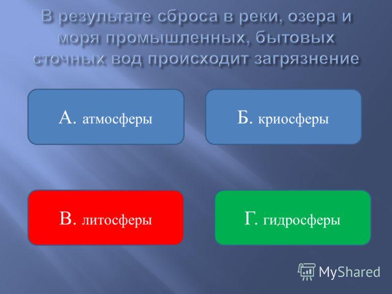 Б. криосферы Г. гидросферы В. литосферы А. атмосферы
