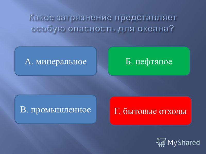 Б. нефтяное В. промышленное А. минеральное Г. бытовые отходы