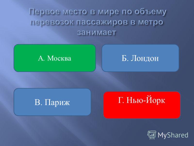 Б. Лондон В. Париж А. Москва Г. Нью-Йорк