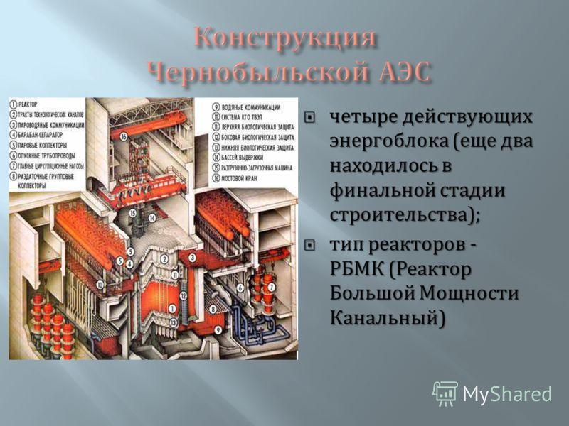 четыре действующих энергоблока ( еще два находилось в финальной стадии строительства ); четыре действующих энергоблока ( еще два находилось в финальной стадии строительства ); тип реакторов - РБМК ( Реактор Большой Мощности Канальный ) тип реакторов