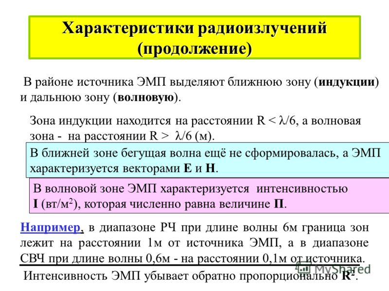 Характеристики радиоизлучений Диапазон электромагнитных колебаний - радиоизлучений делят на радиочастоты (РЧ) и сверхвысокие частоты (СВЧ). Радиочастоты подразделяют на поддиапазоны: Длинные волны (ДВ). Средние волны (СВ). Короткие волны (КВ). Ультра