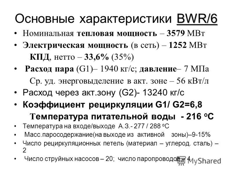 BWR/6 Основные характеристики BWR/6 Номинальная тепловая мощность – 3579 МВт Электрическая мощность (в сеть) – 1252 МВт КПД, нетто – 33,6% (35%) Расход пара (G1)– 1940 кг/с; давление– 7 МПа Ср. уд. энерговыделение в акт. зоне – 56 кВт/л Расход через