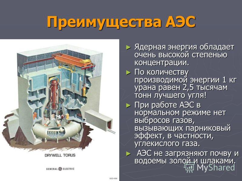 Преимущества АЭС Ядерная энергия обладает очень высокой степенью концентрации. Ядерная энергия обладает очень высокой степенью концентрации. По количеству производимой энергии 1 кг урана равен 2,5 тысячам тонн лучшего угля! По количеству производимой