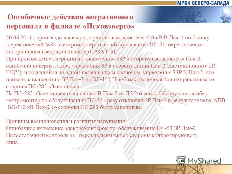 15 Ошибочные действия оперативного персонала в филиале «Псковэнерго» 20.06.2011, производился вывoд в pемoнт выключaтeля 110 кB B Пск-2 по бланку переключений 83 электромонтёром по обслуживанию ПС-53, переключения контролировал ведущий инженер СРЗА С