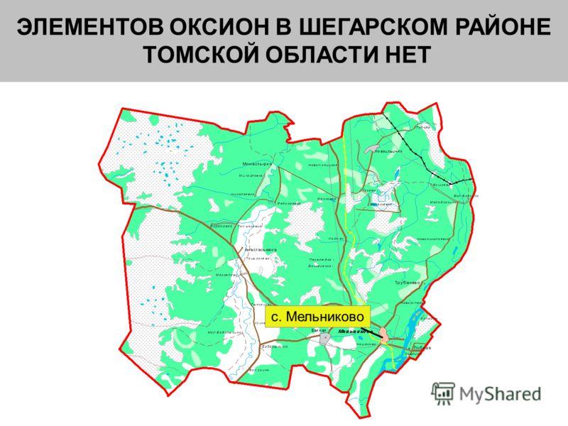 ЭЛЕМЕНТОВ ОКСИОН В ШЕГАРСКОМ РАЙОНЕ ТОМСКОЙ ОБЛАСТИ НЕТ с. Мельниково
