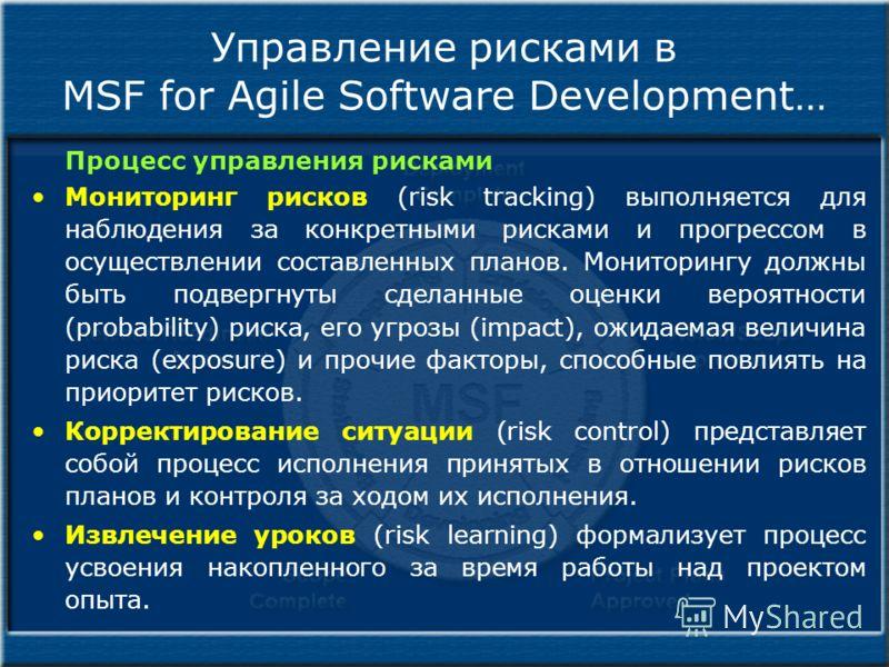 Управление рисками в MSF for Agile Software Development… Процесс управления рисками Мониторинг рисков (risk tracking) выполняется для наблюдения за конкретными рисками и прогрессом в осуществлении составленных планов. Мониторингу должны быть подвергн