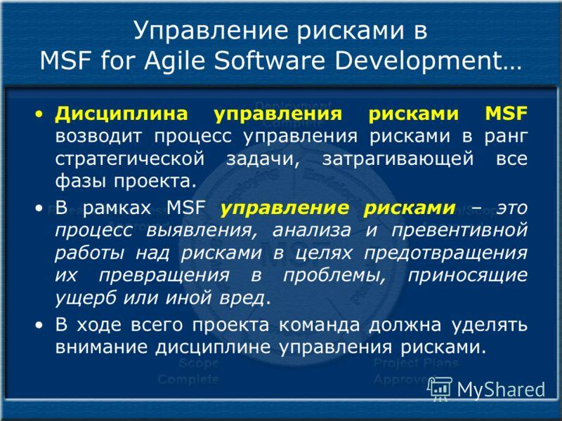 Управление рисками в MSF for Agile Software Development… Дисциплина управления рисками MSF возводит процесс управления рисками в ранг стратегической задачи, затрагивающей все фазы проекта. В рамках MSF управление рисками – это процесс выявления, анал