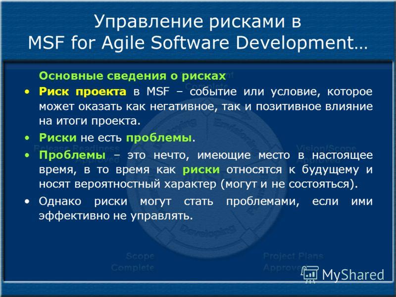 Управление рисками в MSF for Agile Software Development… Основные сведения о рисках Риск проекта в MSF – событие или условие, которое может оказать как негативное, так и позитивное влияние на итоги проекта. Риски не есть проблемы. Проблемы – это нечт