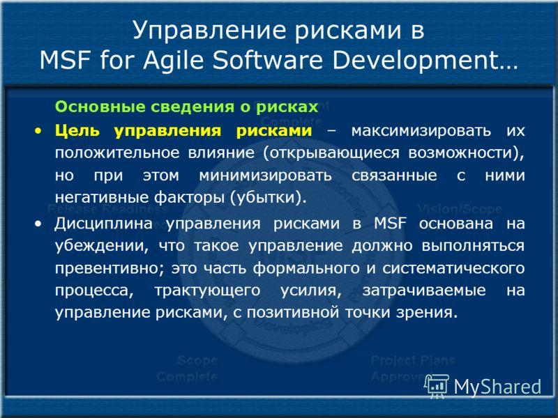 Управление рисками в MSF for Agile Software Development… Основные сведения о рисках Цель управления рисками – максимизировать их положительное влияние (открывающиеся возможности), но при этом минимизировать связанные с ними негативные факторы (убытки
