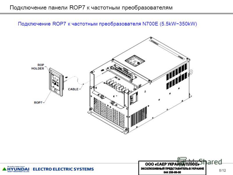 8/12 Подключение ROP7 к частотным преобразователя N700E (5.5kW~350kW) Подключение панели ROP7 к частотным преобразователям