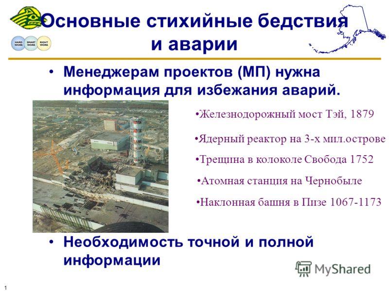 1 Основные стихийные бедствия и аварии Менеджерам проектов (MП) нужна информация для избежания аварий. Необходимость точной и полной информации Железнодорожный мост Тэй, 1879 Ядерный реактор на 3-х мил.острове Атомная станция на Чернобыле Наклонная б