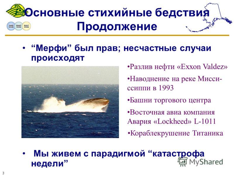 3 Основные стихийные бедствия Продолжение Мерфи был прав; несчастные случаи происходят Мы живем с парадигмой катастрофа недели Наводнение на реке Мисси- ссиппи в 1993 Восточная авиа компания Авария «Lockheed» L-1011 Кораблекрушение Титаника Разлив не