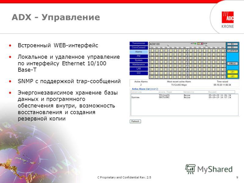 2/2006ADC Proprietary and Confidential Rev. 2.59 ADX - Управление Встроенный WEB-интерфейс Локальное и удаленное управление по интерфейсу Ethernet 10/100 Base-T SNMP с поддержкой trap-сообщений Энергонезависимое хранение базы данных и программного об