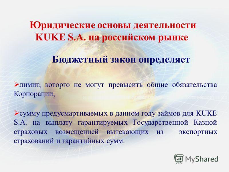 Бюджетный закон определяет Юридические основы деятельности KUKE S.A. нa российском рынке лимит, которго не могут превысить общие обязательства Корпорации, сумму предусмартиваемых в данном году займов для KUKE S.A. на выплату гарантируемых Государстве