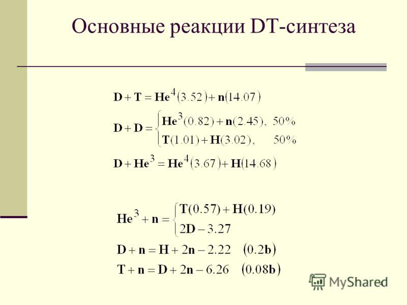 4 Основные реакции DT-синтеза