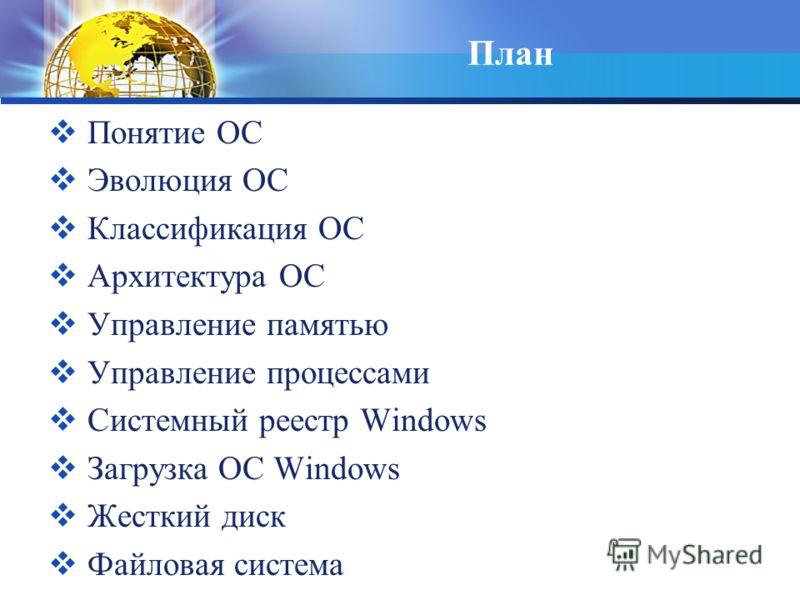 План Понятие ОС Эволюция ОС Классификация ОС Архитектура ОС Управление памятью Управление процессами Системный реестр Windows Загрузка ОС Windows Жесткий диск Файловая система