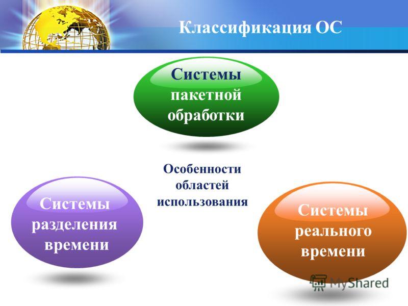 Особенности областей использования Системы разделения времени Системы реального времени Классификация ОС Системы пакетной обработки