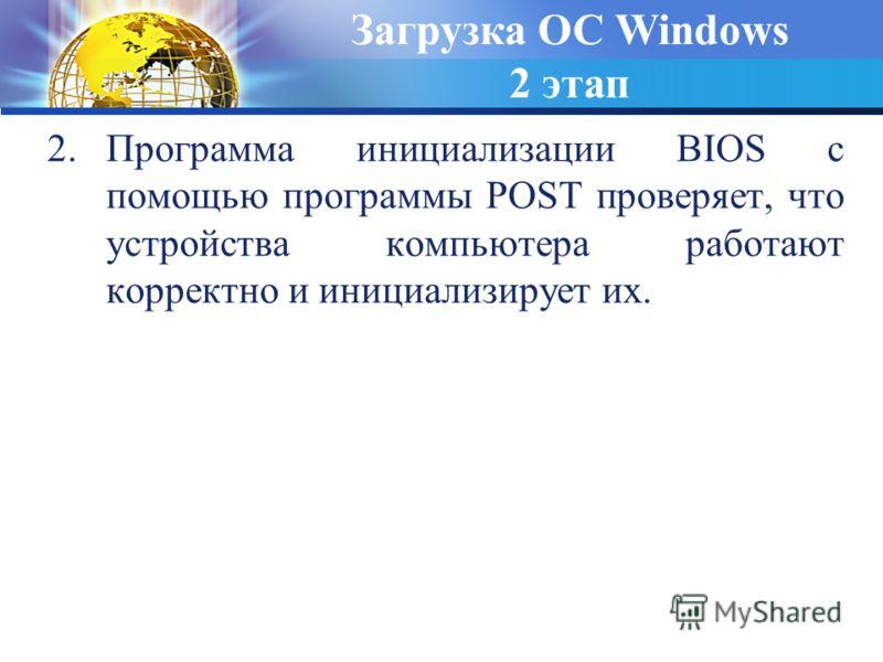 2.Программа инициализации BIOS с помощью программы POST проверяет, что устройства компьютера работают корректно и инициализирует их. Загрузка ОС Windows 2 этап