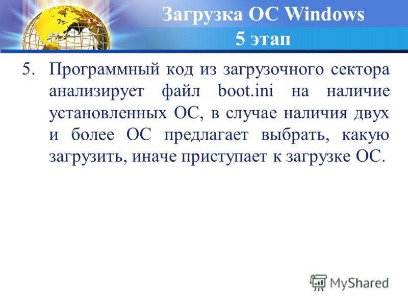5.Программный код из загрузочного сектора анализирует файл boot.ini на наличие установленных ОС, в случае наличия двух и более ОС предлагает выбрать, какую загрузить, иначе приступает к загрузке ОС. Загрузка ОС Windows 5 этап