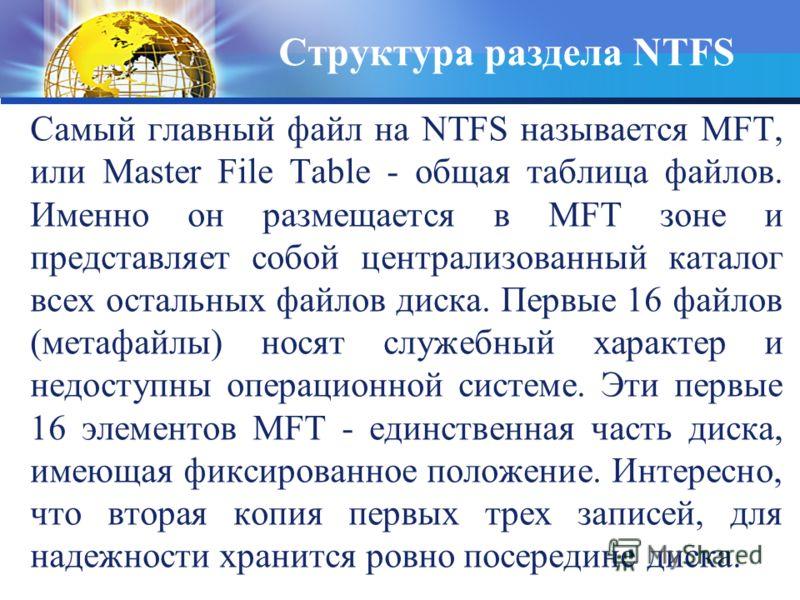 Самый главный файл на NTFS называется MFT, или Master File Table - общая таблица файлов. Именно он размещается в MFT зоне и представляет собой централизованный каталог всех остальных файлов диска. Первые 16 файлов (метафайлы) носят служебный характер