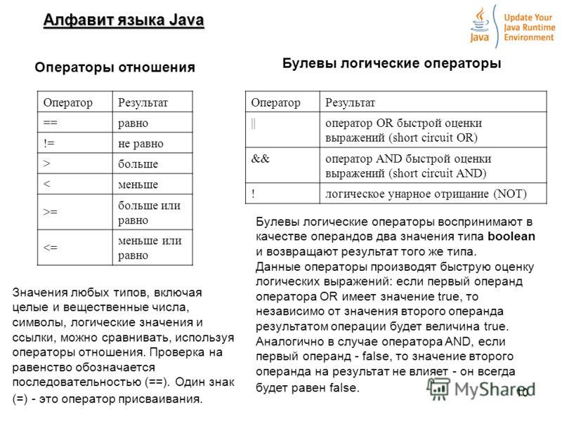 10 Алфавит языка Java Операторы отношения ОператорРезультат ==равно !=не равно >больше = больше или равно