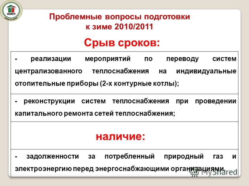 Проблемные вопросы подготовки к зиме 2010/2011 4 - реализации мероприятий по переводу систем централизованного теплоснабжения на индивидуальные отопительные приборы (2-х контурные котлы); - реконструкции систем теплоснабжения при проведении капитальн