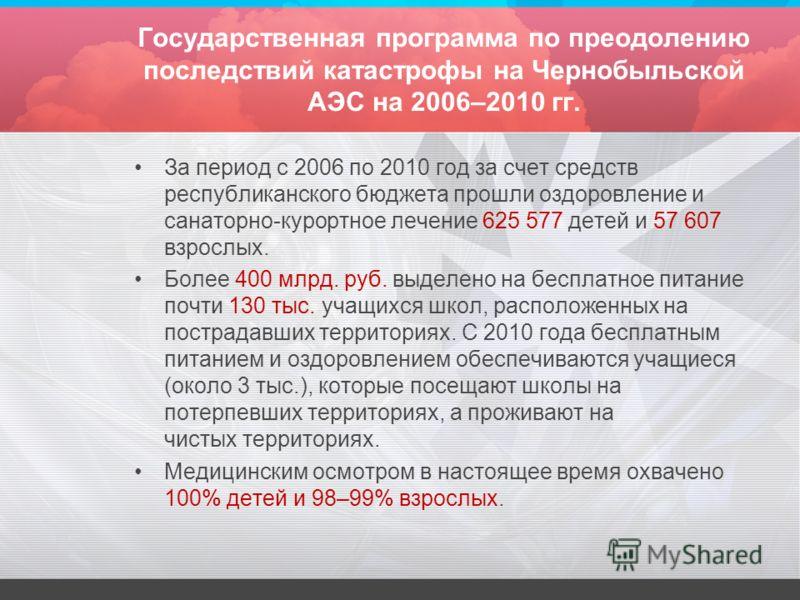 Государственная программа по преодолению последствий катастрофы на Чернобыльской АЭС на 2006–2010 гг. За период с 2006 по 2010 год за счет средств республиканского бюджета прошли оздоровление и санаторно-курортное лечение 625 577 детей и 57 607 взрос