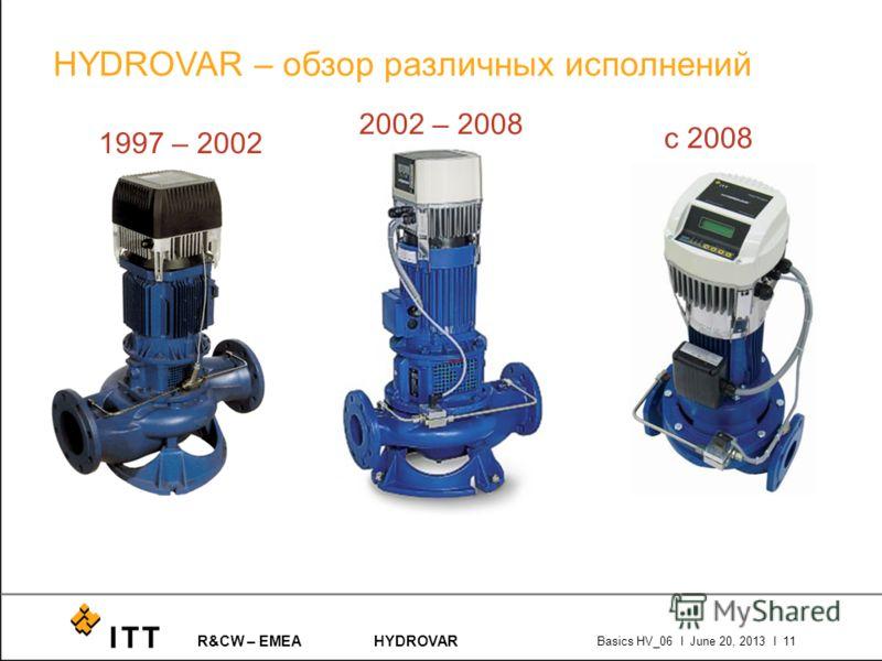 R&CW – EMEAHYDROVAR Basics HV_06 l June 20, 2013 l 11 HYDROVAR – обзор различных исполнений 1997 – 2002 2002 – 2008 с 2008