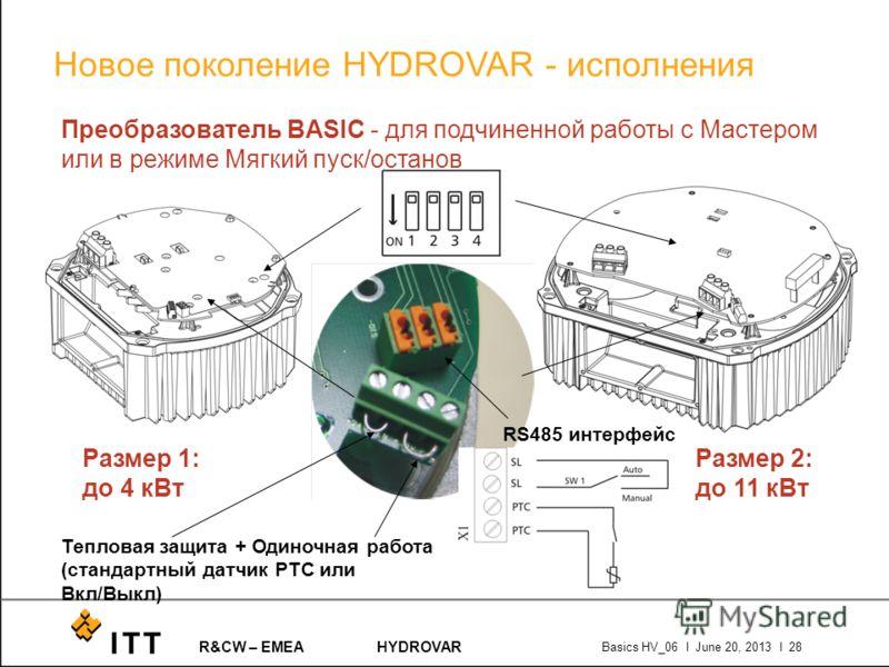 R&CW – EMEAHYDROVAR Basics HV_06 l June 20, 2013 l 28 RS485 интерфейс Тепловая защита + Одиночная работа (стандартный датчик PTC или Вкл/Выкл) Преобразователь BASIC - для подчиненной работы с Мастером или в режиме Мягкий пуск/останов Размер 1: до 4 к