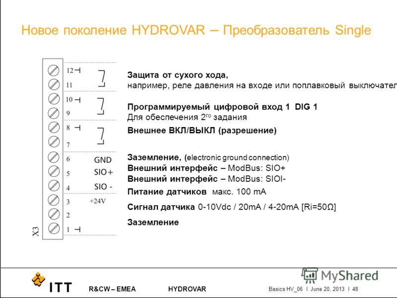 R&CW – EMEAHYDROVAR Basics HV_06 l June 20, 2013 l 48 Защита от сухого хода, например, реле давления на входе или поплавковый выключатель Программируемый цифровой вход 1 DIG 1 Для обеспечения 2 го задания Внешнее ВКЛ/ВЫКЛ (разрешение) Заземление, (el