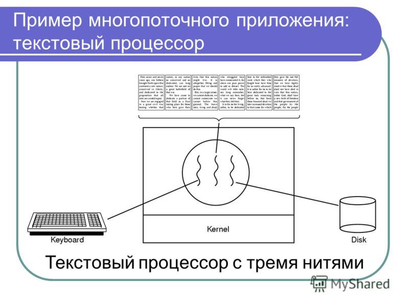 Пример многопоточного приложения: текстовый процессор Текстовый процессор с тремя нитями