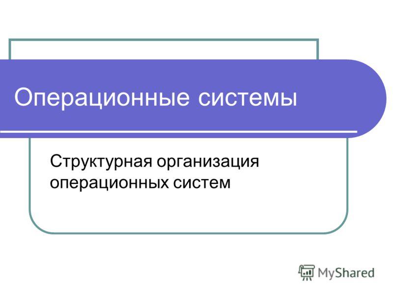 Операционные системы Структурная организация операционных систем