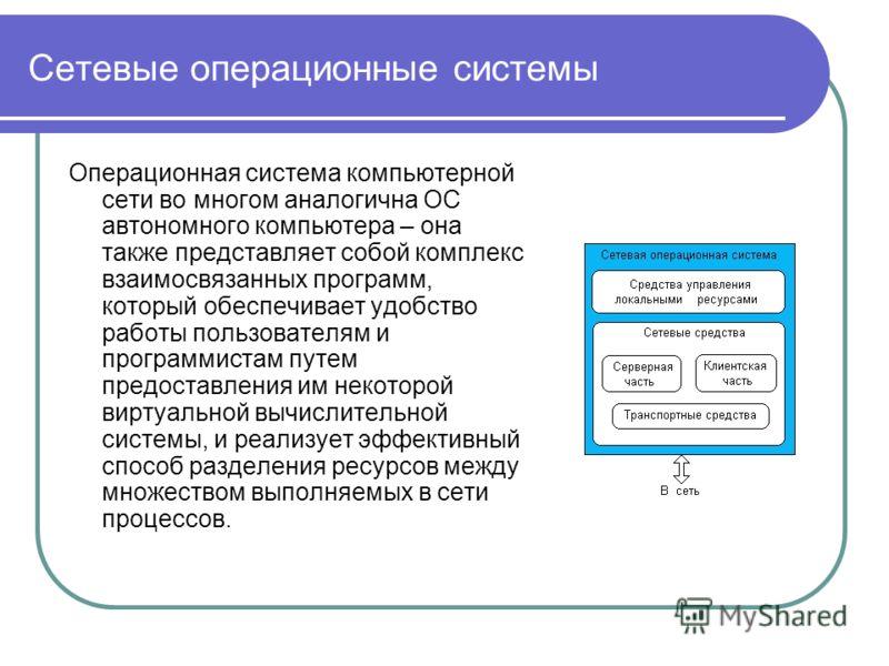 Сетевые операционные системы Операционная система компьютерной сети во многом аналогична ОС автономного компьютера – она также представляет собой комплекс взаимосвязанных программ, который обеспечивает удобство работы пользователям и программистам пу