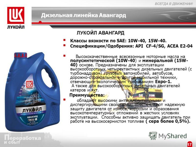 17 Дизельная линейка Авангард Классы вязкости по SAE: 10W-40, 15W-40. Спецификации/Одобрения: API CF-4/SG, ACEA Е2-04 Высококачественные всесезонные моторные масла на полусинтетической (10W-40) и минеральной (15W- 40) основе. Предназначены для эксплу