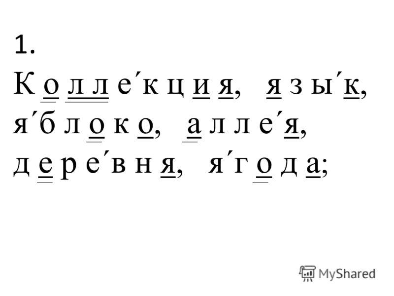 1. К о л л е´к ц и я, я з ы´к, я´б л о к о, а л л е´я, д е р е´в н я, я´г о д а ;