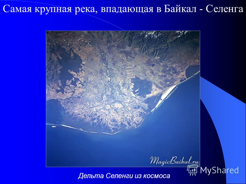 Самая крупная река, впадающая в Байкал - Селенга Дельта Селенги из космоса