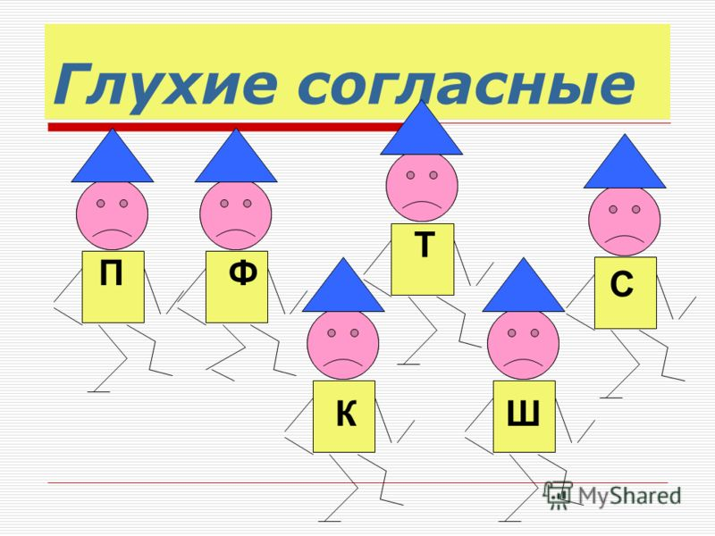 Глухие согласные ПФ Т КШ С