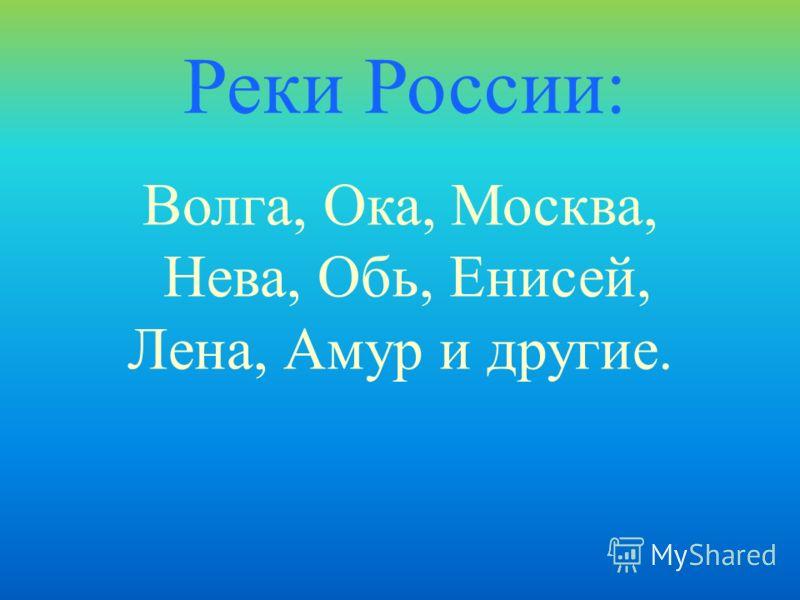 Волга, Ока, Москва, Нева, Обь, Енисей, Лена, Амур и другие. Реки России: