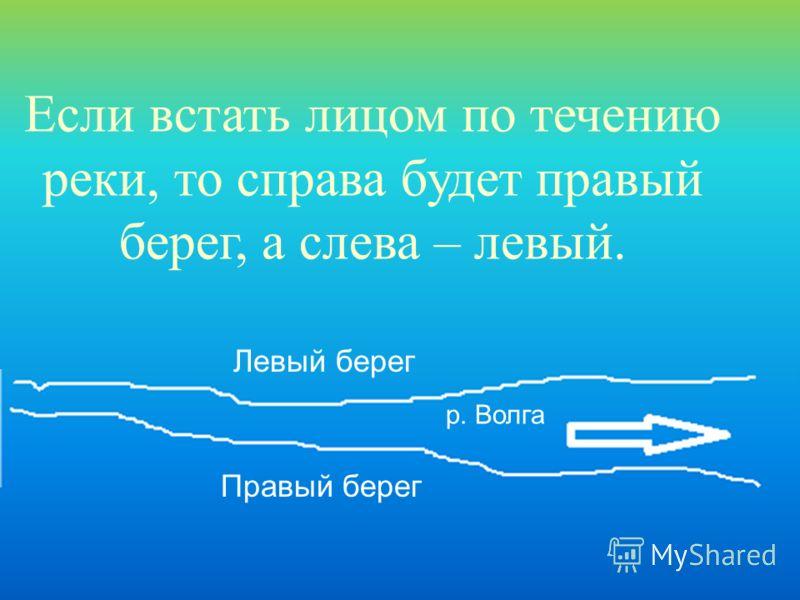 Если встать лицом по течению реки, то справа будет правый берег, а слева – левый. Левый берег Правый берег р. Волга