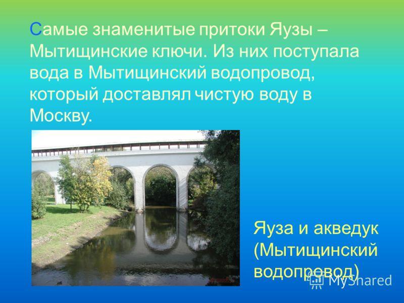 Самые знаменитые притоки Яузы – Мытищинские ключи. Из них поступала вода в Мытищинский водопровод, который доставлял чистую воду в Москву. Яуза и акведук (Мытищинский водопровод)
