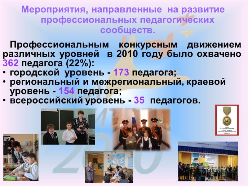 Мероприятия, направленные на развитие профессиональных педагогических сообществ. Профессиональным конкурсным движением различных уровней в 2010 году было охвачено 362 педагога (22%): городской уровень - 173 педагога; региональный и межрегиональный, к