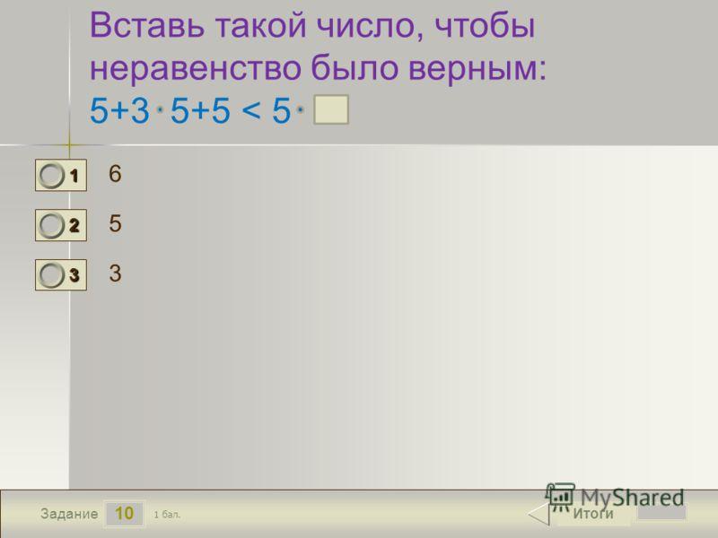10 Задание Вставь такой число, чтобы неравенство было верным: 5+3 5+5 < 5 6 5 3 Итоги 1 бал. 1111 0 2222 0 3333 0