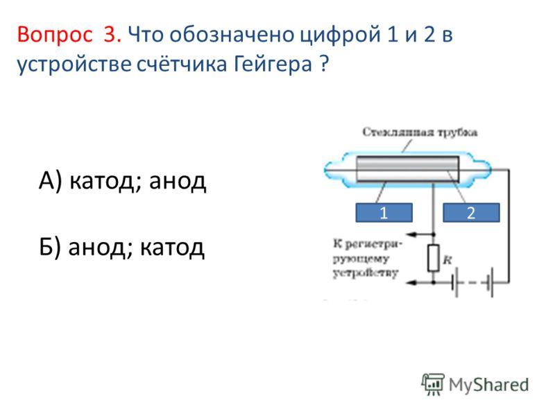 А) катод; анод Б) анод; катод Вопрос 3. Что обозначено цифрой 1 и 2 в устройстве счётчика Гейгера ? 12
