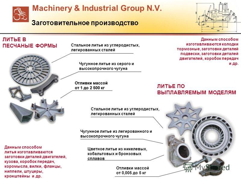 Machinery & Industrial Group N.V. Стальное литье из углеродистых, легированных сталей Чугунное литье из серого и высокопрочного чугуна Отливки массой от 1 до 2 500 кг Стальное литье из углеродистых, легированных сталей Чугунное литье из легированного