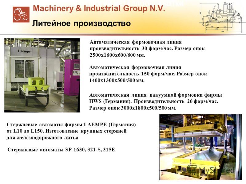 ТЕХНОЛОГИИ МЕТАЛЛООБРАБОТКИ Автоматическая формовочная линия производительность 30 форм/час. Размер опок 2500x1600x600/600 мм. Автоматическая формовочная линия производительность 150 форм/час. Размер опок 1400x1300x500/500 мм. Автоматическая линия ва