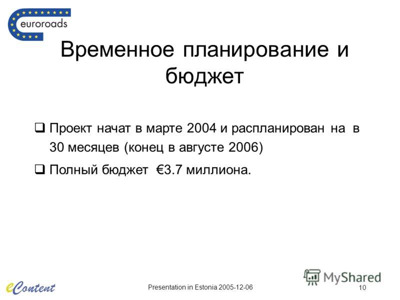 Presentation in Estonia 2005-12-06 10 Временное планирование и бюджет Проект начат в марте 2004 и распланирован на в 30 месяцев (конец в августе 2006) Полный бюджет 3.7 миллиона.