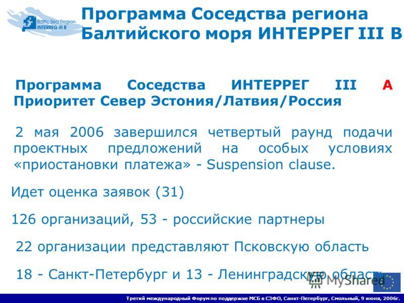 Программа Соседства региона Балтийского моря ИНТЕРРЕГ III B Программа Соседства ИНТЕРРЕГ III A Приоритет Север Эстония/Латвия/Россия 2 мая 2006 завершился четвертый раунд подачи проектных предложений на особых условиях «приостановки платежа» - Suspen