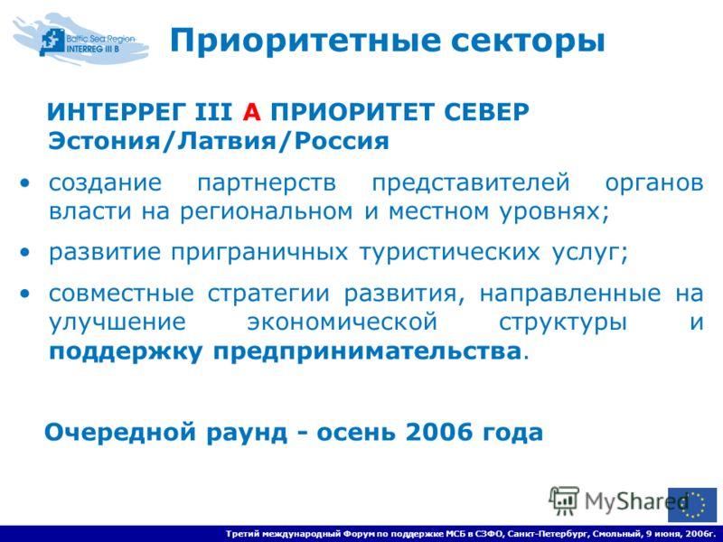 Третий международный Форум по поддержке МСБ в СЗФО, Санкт-Петербург, Смольный, 9 июня, 2006г. ИНТЕРРЕГ III A ПРИОРИТЕТ СЕВЕР Эстония/Латвия/Россия создание партнерств представителей органов власти на региональном и местном уровнях; развитие пригранич